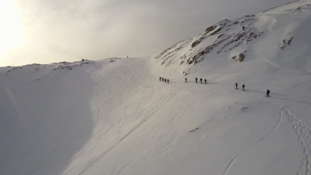 wildhorn skitour 3 - large group of people stock videos & royalty-free footage