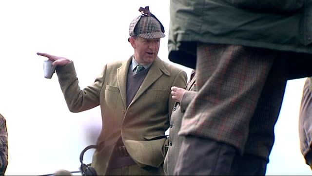 wildlife conservationists launch campaign to ban grouse shooting pat thompson interview sot hunter calling dogs gvs huntsmen standing chatting... - eaten stock videos & royalty-free footage