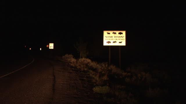 zi, ms, wildlife road sign at night, grand teton national park, wyoming, usa - rappresentazione di animale video stock e b–roll
