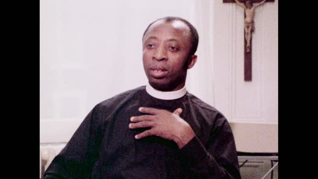 """wilfred wood, the first black bishop in the church of england, speaking in 1973 on the differences between racial prejudice and discrimination. """"i... - real people stock videos & royalty-free footage"""
