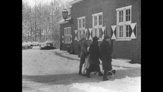 wilhelm, hermine and hermine's children walking on his estate, huis doorn, with dogs, snow on ground / intertitle in german and dutch / wilhelm and... - esilio video stock e b–roll