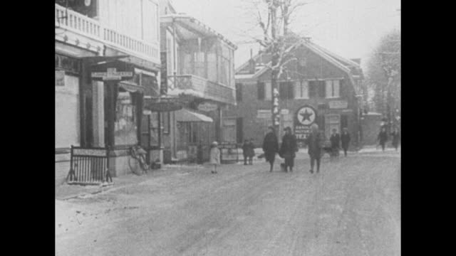 wilhelm with cane, wife hermine, little girl and another woman holding dog on leash walking in snow toward camera, house through trees in bg / family... - 追放点の映像素材/bロール