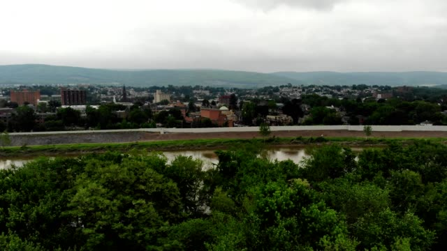 wilkes barre, pennsylvania field flyover - wilkes barre stock videos & royalty-free footage