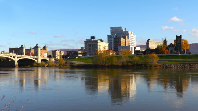 wilkes-barre along the susquehanna river - wilkes barre stock videos & royalty-free footage