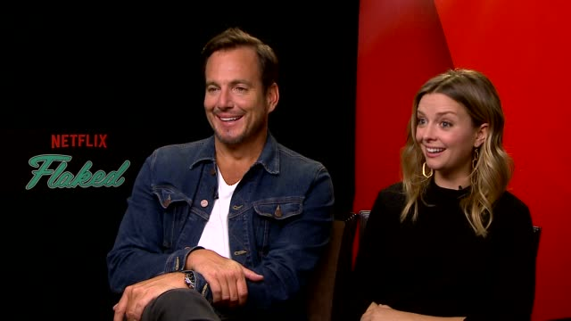 will arnett & ruth kearney on the origin of 'flaked', their characters, why they decided to do the show, using real life events & filming in venice... - ウィル アーネット点の映像素材/bロール