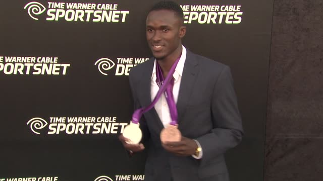 will claye at time warner sports celebrates launch of time warner cable sportsnet and time warner cable deportes networks on 10/1/2012 in el segundo... - el segundo stock videos & royalty-free footage