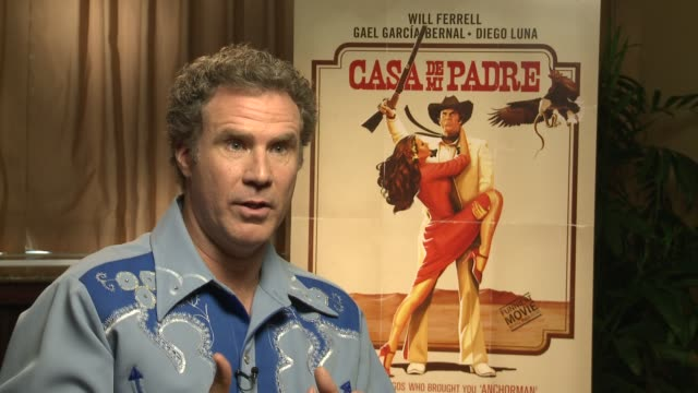 will ferrell describes how gael and diego came onboard and why they give the film legitimacy at casa de mi padre new york press day on 3/10/2012 in... - padre bildbanksvideor och videomaterial från bakom kulisserna