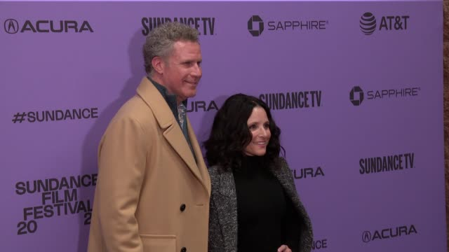 "stockvideo's en b-roll-footage met will ferrell julia louisdreyfus at the ""downhill"" sundance premiere presented by searchlight pictures sundance film festival at eccles center theatre... - sundance film festival"