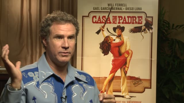 will ferrell talks about his favorite scenes in this film at casa de mi padre new york press day on 3/10/2012 in new york ny united states - padre stock videos & royalty-free footage