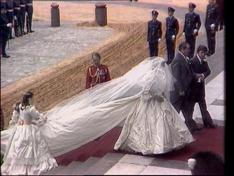 Will of Diana Princess of Wales published / ReesJones interview TX St Paul's Lady Diana arriving for wedding in dress designed by the Emanuels which...