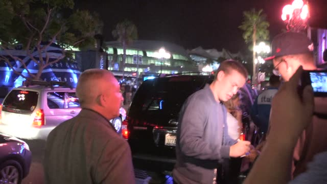 will poulter greets fans arriving at the 2014 san diego comic-con party at the hard rock hotel at celebrity sightings in san diego on july 24, 2014... - ハードロックカフェ点の映像素材/bロール