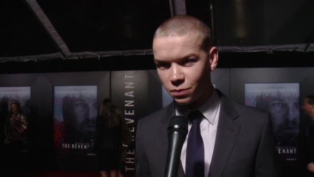 will poulter on what it means to have his movie premier at the iconic tcl chinese theatre, on what it was like working with such a talented cast and... - tcl chinese theatre video stock e b–roll