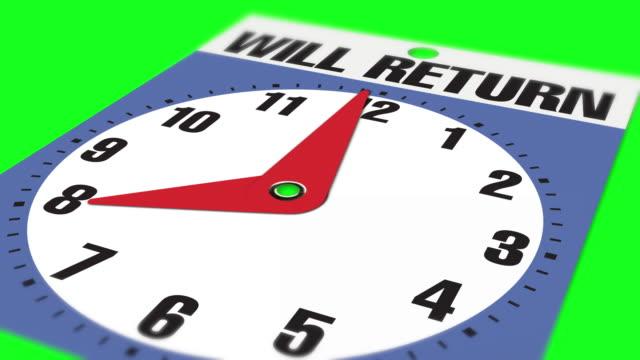 """vídeos de stock, filmes e b-roll de 8:00 """"will return"""" sinal de abertura de negócios no fundo da chave chroma - 1 minute or greater"""
