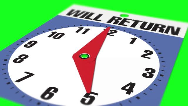 """05:00 cartello di apertura aziendale """"will return"""" su sfondo chiave crominanza - insegna di negozio video stock e b–roll"""