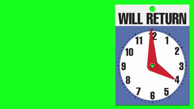 """4:00 """"will return"""" cartello di apertura aziendale su sfondo chiave crominanza - insegna di negozio video stock e b–roll"""