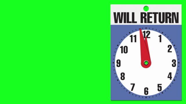 """12:00 """"will return"""" cartello di apertura aziendale su sfondo chiave crominanza - insegna di negozio video stock e b–roll"""
