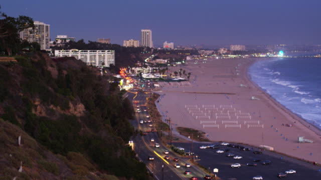 will rogers state beach and santa monica, california at twilight - ascending drone shot - pacific palisades stock videos & royalty-free footage