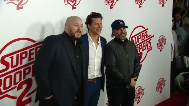 "will sasso hayes macarthur tyler labine at ""super troopers 2"" los angeles premiere presented by fox searchlight pictures in los angeles ca - super troopers 2 stock videos & royalty-free footage"