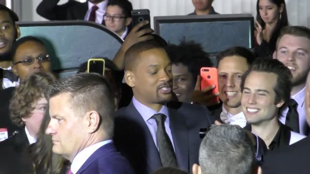 will smith at the premiere of bright at regency village theatre in westwood celebrity sightings on december 13 2017 in los angeles california - ウェストウッド地区点の映像素材/bロール