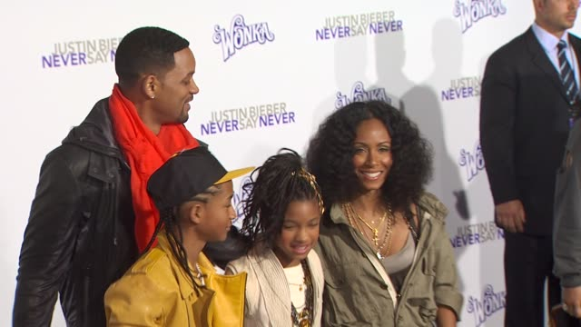 will smith jaden smith willow smith and jada pinkett smith at the 'justin bieber never say never' premiere at los angeles ca - jaden smith stock videos & royalty-free footage