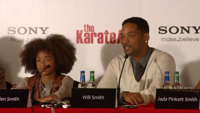 will smith on family always coming first and how important faith is. at the the karate kid press conference at london england. - 俳優 ウィル・スミス点の映像素材/bロール