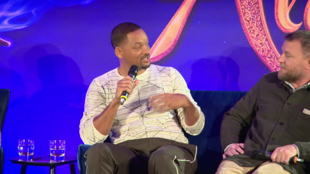 will smith on the anthem he would describe for his character the genie at 'aladdin' european press conference at rosewood hotel on may 10, 2019 in... - press conference点の映像素材/bロール