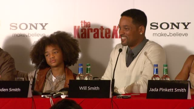 will smith on whether or not jaden can kick his ass filming men in black 3 and going to ireland to promote it at the the karate kid press conference... - jaden smith stock videos & royalty-free footage