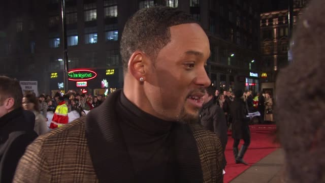 will smith talks about his name presented at the premiere on seven pounds on possibility of working on bollywood films at the uk seven pounds gala... - bollywood stock videos and b-roll footage
