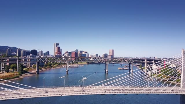 willamette bridges, portland, or - aerial view - portland oregon stock videos & royalty-free footage