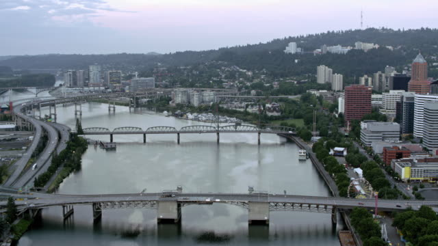 AERIAL Willamette River and Downtown Portland early in the morning