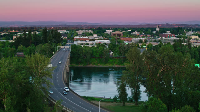 willamette river bridges at sunset - aerial - oregon us state stock videos & royalty-free footage