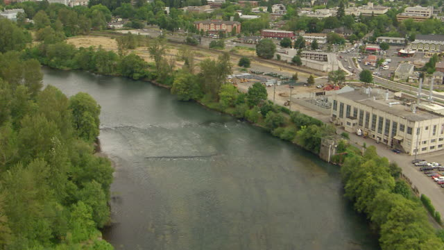 ws aerial willamette river by downtown / oregon, united states - eugene oregon stock videos & royalty-free footage