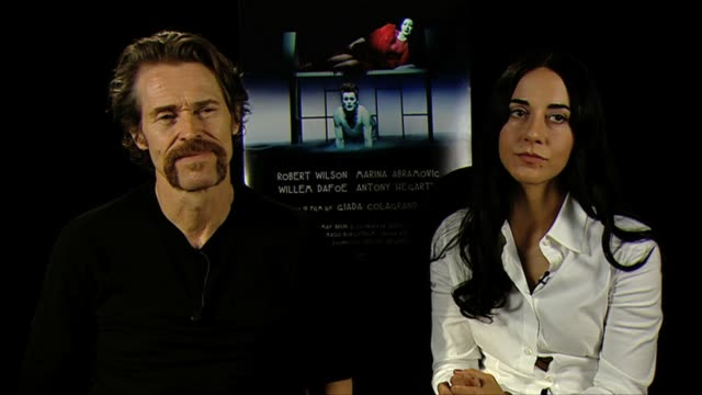 willem dafoe giada colagrande on the roles in the film at bob wilson's life and death of marina abramovic interviews 69th venice film festival on... - marina abramovic stock videos and b-roll footage
