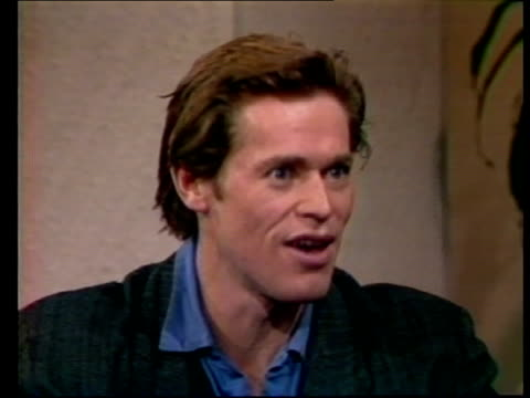 willem dafoe interview sot various of cinema showing 'platoon' and people entering cinema vox pops sot - 1987 stock videos & royalty-free footage