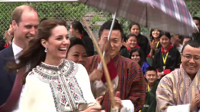 william and kate have moved on to the remote himalayan kingdom of bhutan there the traditionally dressed duchess of cambridge tried her hand at... - duchess of cambridge stock videos and b-roll footage