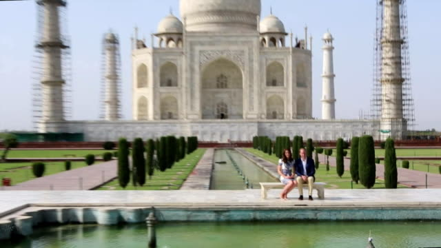 william and kate have visited thetaj mahal on the final day of their tour of india and bhutan the couple's trip has prompted comparisons with the... - taj mahal stock videos and b-roll footage