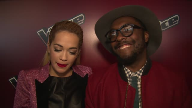 interview william and rita ora on the show the united kingdom and mentoring at the voice uk launch on 5th january 2015 in london england - will.i.am stock videos & royalty-free footage