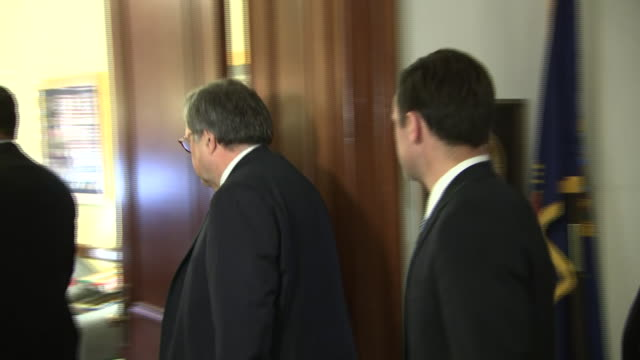 william barr, the united states attorney general, walks down a hallway in the russell senate office building on january 28, 2019 in washington d.c. - chromosome stock videos & royalty-free footage