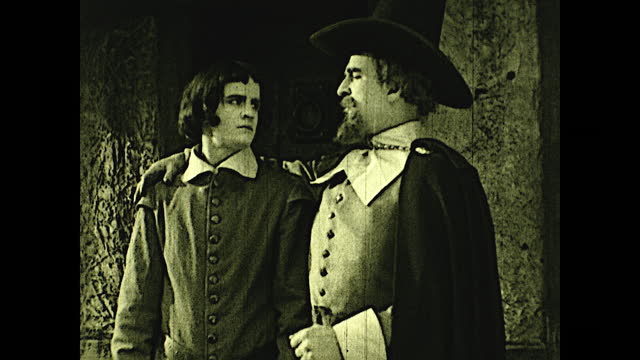 """william brewster and william bradford watches the sheriff ride away in front of cabin; william brewster says: """"we are on the eve of terrible... - pilgrim stock videos & royalty-free footage"""