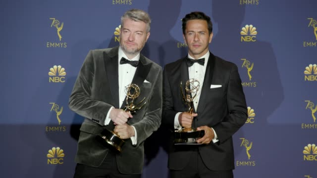 william bridges and charlie brooker at the 70th emmy awards photo room at microsoft theater on september 17 2018 in los angeles california - emmy awards stock videos & royalty-free footage