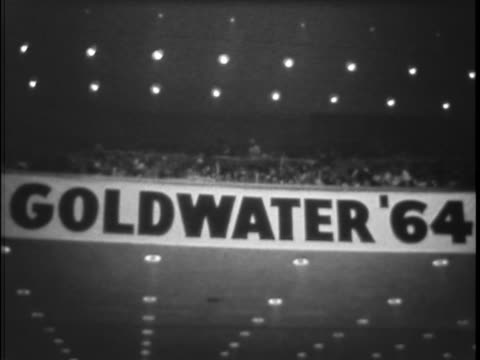 vídeos de stock e filmes b-roll de william edward miller barry goldwater's vice presidential running mate for the 1964 election features prominently in this austin texas campaign... - 1964