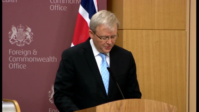 william hague and kevin rudd joint aukmin press conference kevin rudd sot excellent hosts for 4th meeting of aukmin transformation in relationship... - horn of africa stock videos and b-roll footage
