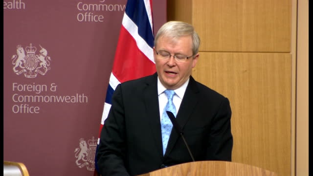 William Hague and Kevin Rudd joint AUKMIN press conference Q Mr Rudd how do you think standing if returns all refugee ships Rudd SOT re we believe...