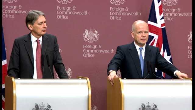 william hague and kevin rudd joint aukmin press conference q syrian crisis hague sot re the plan put forward for the arab league but since this... - sea passage stock videos and b-roll footage