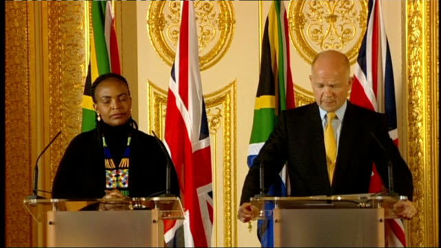 William Hague and Maite NkoanaMashabane joint press conference ENGLAND London PHOTOGRAPHY*** William Hague MP and Maite NkoanaMashabane enter press...