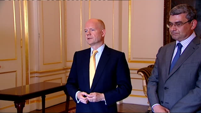 william hague and romanian foreign secretary teodor baconschi press conference england london foreign and commonwealth office location** william... - moldova stock videos and b-roll footage