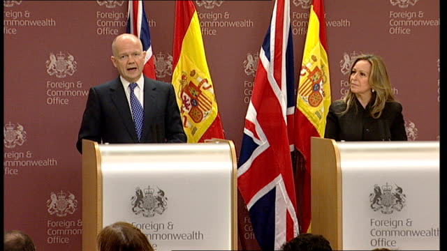 william hague and trinidad jimenez joint press conference england london westminster photography** william hague and trinidad jimenez along to... - now open stock videos & royalty-free footage