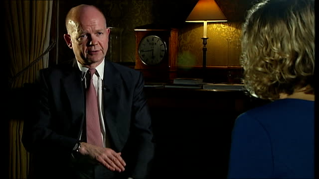 william hague announces global summit on war zone rape england london int william hague mp interview sot - william hague stock-videos und b-roll-filmmaterial