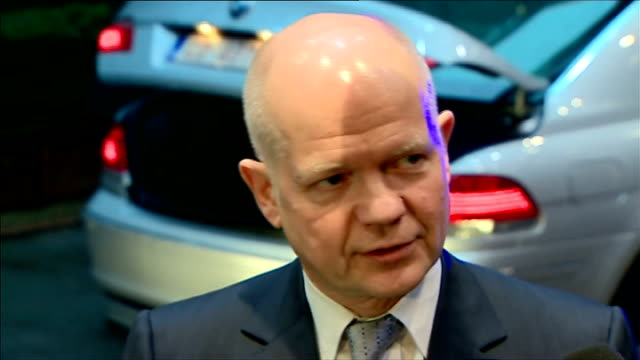 william hague attends eu foreign ministers meeting in brussels belgium brussels photography** various shots eu ministers arriving at meeting by car... - william hague stock-videos und b-roll-filmmaterial