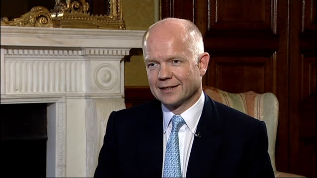 william hague gives first major speech as foreign secretary reporter question sot on europe hague interview sot i have always wanted us to exercise... - john w. snow politician stock videos and b-roll footage